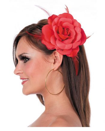 Rote Rose mit Haargummi