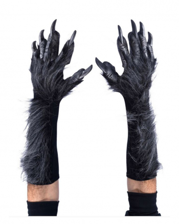 Graue Werwolf Handschuhe mit Kunstfell Deluxe