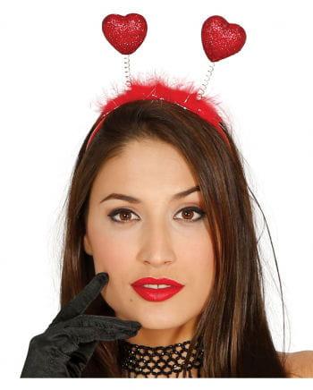 Glitter headband with red hearts