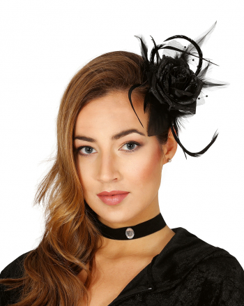 Haarclip mit Schwarzer Rose und Federn