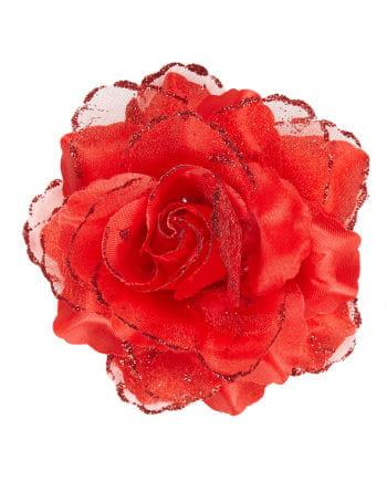 Rote Glitzer-Rose Haarspange