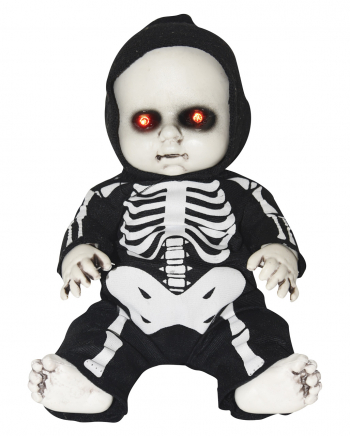 Halloween Doll In Skeleton Jumpsuit With LED Eyes