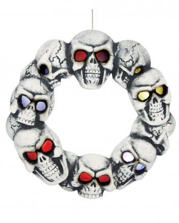 Halloween Totenkopf Türkranz mit LED Augen