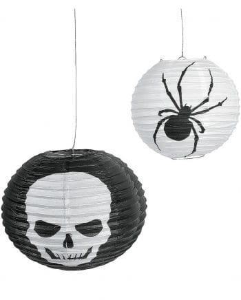 Totenkopf Spinnen Laternen 6er Pack