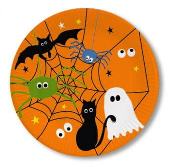 Pappteller mit Spinnennetz 8er Set Halloween