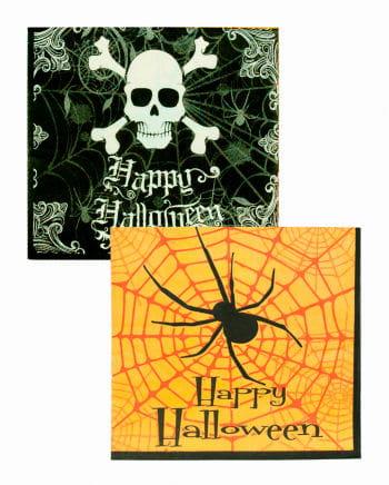 Halloween Servietten mit Spinne & Totenkopf