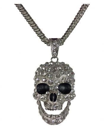 Halskette Totenschädel mit Strass
