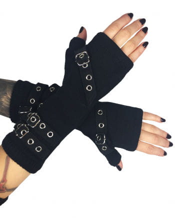 Gloves Bondage Black Wool
