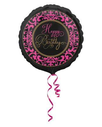 Folienballon Happy Birthday schwarz-pink 43cm