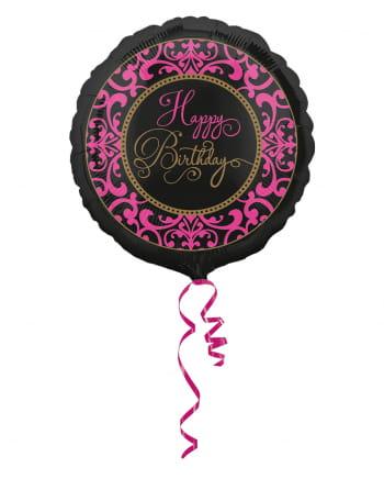 Happy Birthday Foil Balloon Black-pink 43cm