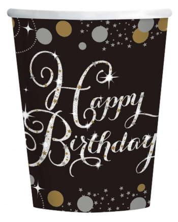 Happy Birthday Becher Silver & Gold 8 St.
