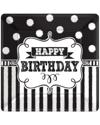 8 Happy Birthday Einwegteller Schwarz-Weiß