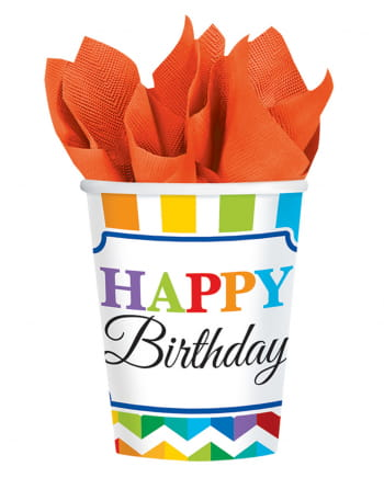 Happy Birthday Rainbow Paper Cup 8 Pcs.