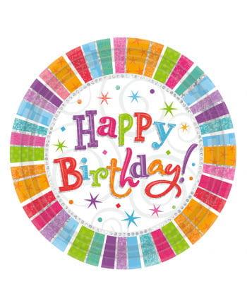 Happy Birthday paper plates Stars 8 St.