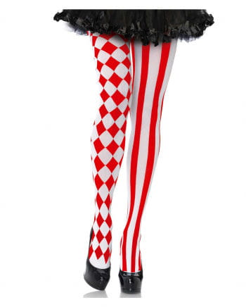 Harlekin Damenstrumpfhose rot-weiß