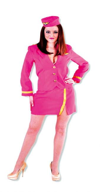 Heiße Stewardess Frauen Kostüm pink XL