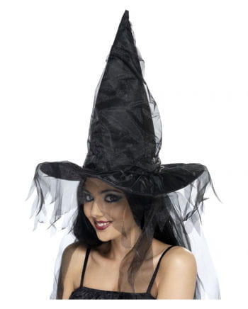 Witch`s Hat with tulle veil Black