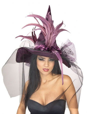 Witch Hat With Feathers Violet
