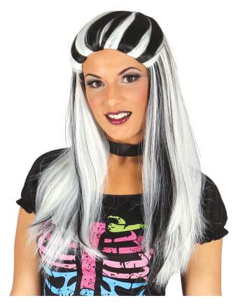 Hexenperücke Mrs. Frankie schwarz-weiß