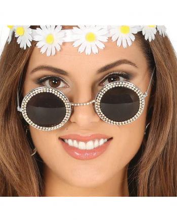 Flower Power Brille mit Strasssteinen