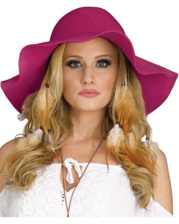 Pinker Hippie Kostüm-Hut