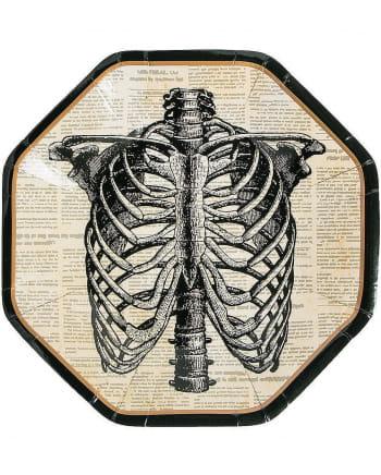 Hipster Skeleton Paper Plate 8 Pcs.