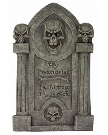 Hy Pocondriac Tombstone With Skulls 70cm
