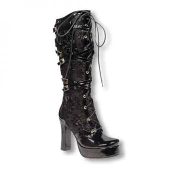 Inamagura patent leather boots with rose Application