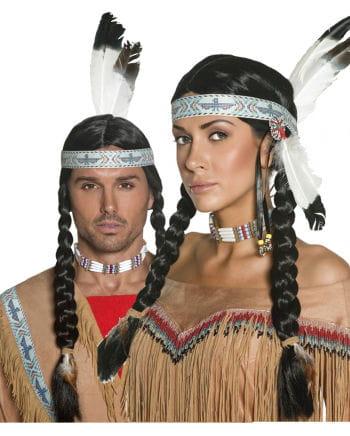 Indianer Perücke mit Zopf Unisex