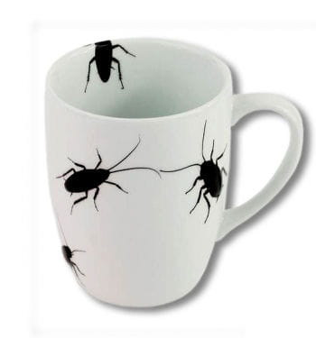 Coffee cup with cockroaches