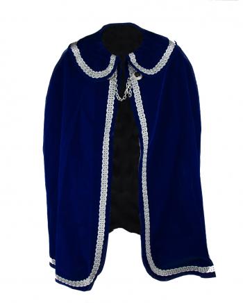 Prinzenmantel für Karneval in Blau-Silber