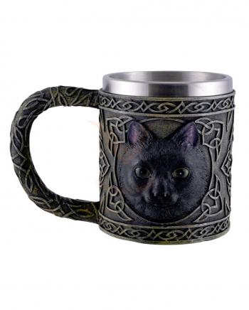 Keltischer Krug mit schwarzem Katzen Motiv