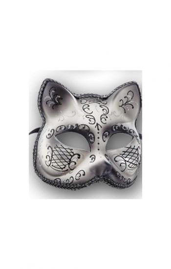 Damen Katzenmaske silber