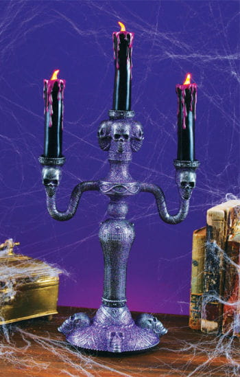 Gothic Candlestick With LED Candles Violet