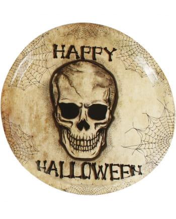 Plastic Plate Happy Halloween Skull