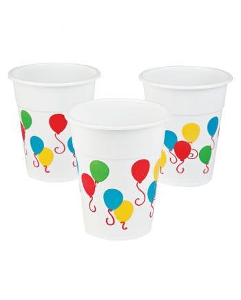 25 Kunststoff Becher mit Ballon-Motiv