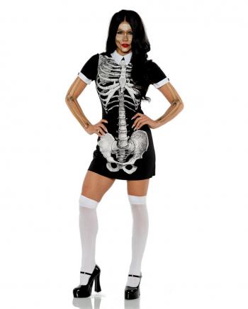 Skelett Kurzarmkleid mit Kragen