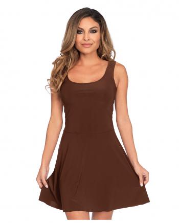 Short Skater Dress Brown