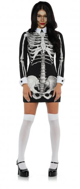 Skelett Langarmkleid mit Kragen