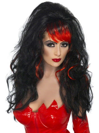 Long Hair Wig black with streaks