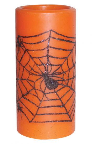 LED Candle Orange with Cobweb