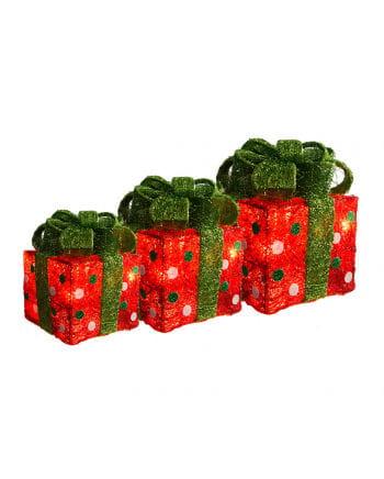 Weihnachtspakete mit Lichterketten 3er Set