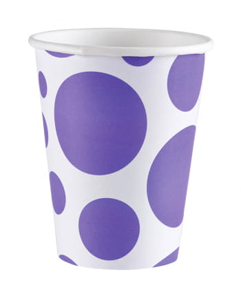 Purple Dots Paper Cups 8 Pcs.
