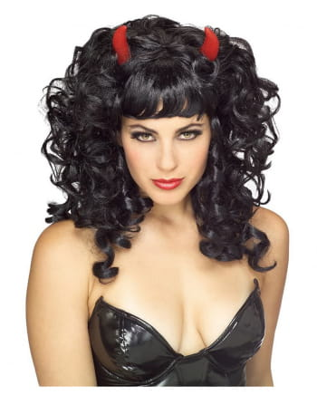 Lockige schwarze Teufelsperücke mit roten Hörnern