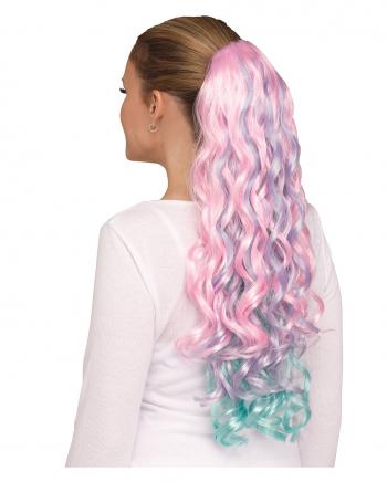 Pastell Einhorn Haarteil lockig