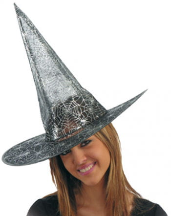 Lurex Witch Hat with cobweb pattern silver small