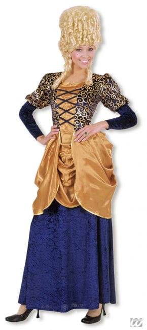 Blau-Goldenes Marquise Kostüm XL