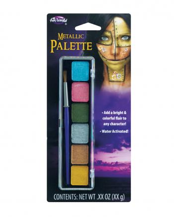 Metallic Aquacolor Make Up Palette 6 Farben