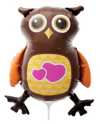 Mini foil balloon owl with heart