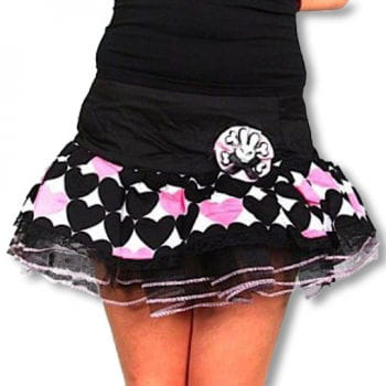 Mini skirt with heart black pink